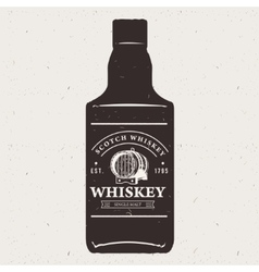 Hand drawn whiskey bottle with logo Typography vector