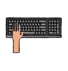 hand in keyboard vector image