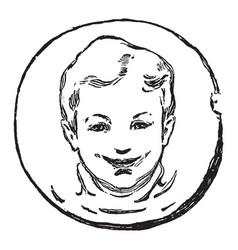 happy boy smiley face vintage engraving vector image