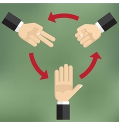 How to play rock scissors paper vector