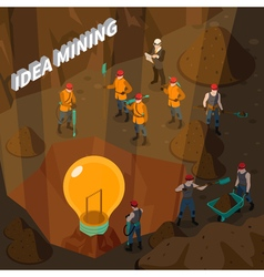 Idea Mining Isometric Concept vector image