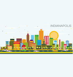 Indianapolis skyline with color buildings and vector