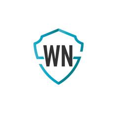 Initials letter wn creative shield design logo vector