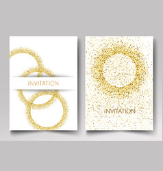 Invitation template gold glitter in the shape of vector