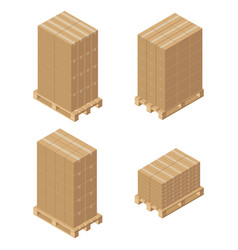 Isometric cardboard boxes on wooden pallet vector
