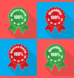 labels money back quality in flat on different vector image