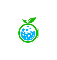 Leaf laundry logo icon design vector