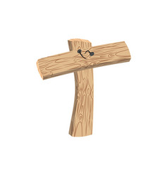 letter t wood board font plank and nails alphabet vector image