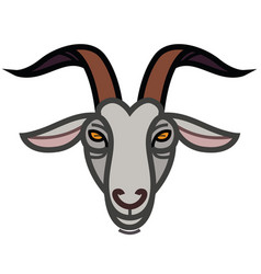 Linear stylized drawing goats head vector