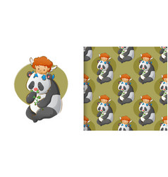 Little cupid is playing on panda39s head vector