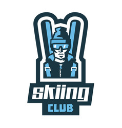 logo skiing club label stamp the circle of like vector image