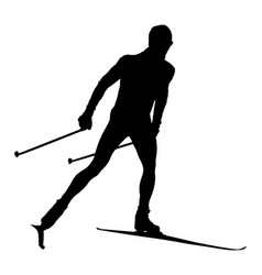 Male athlete cross country skier vector