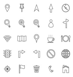 Map line icons on white background vector image