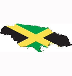 Map of Jamaica with national flag vector