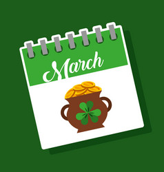 March calendar cauldron full coins treasure st vector