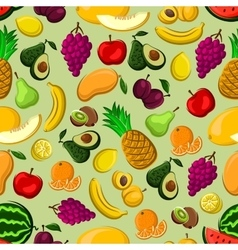 Mixed fruits seamless pattern for farming design vector