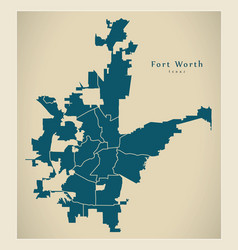 Modern city map - fort worth texas city of the vector