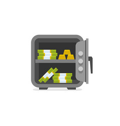 opened safe with money inside vector image
