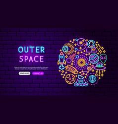 Outer space neon banner design vector
