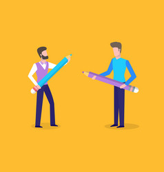 People holding big wooden pencil with erasers vector