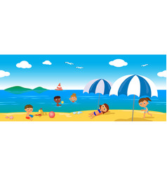 People on holiday at the sea seamless line vector