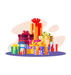 Pile of gifts in colorful packaging vector