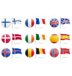 realistic mockup badge flag icon set vector image