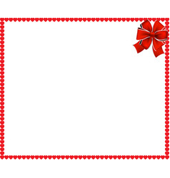 red cartoon hearts frame with festive ribbon vector image