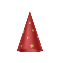 Red sorcerer hat with golden stars vector