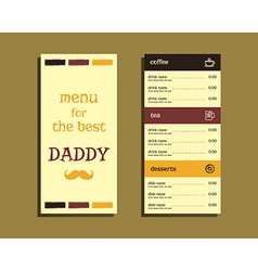 Restaurant and cafe menu Fathers Day theme Flat vector image