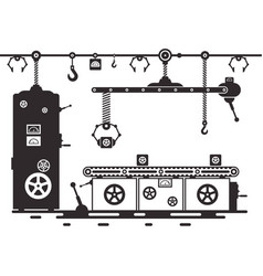 retro line of productionvintage black machine vector image