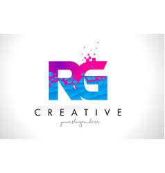 Rg r g letter logo with shattered broken blue vector