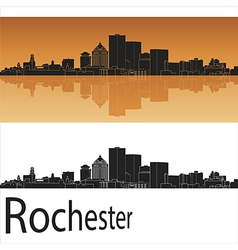 Rochester skyline in orange background vector