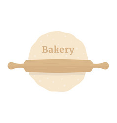 rolling pin with dough like bakery vector image