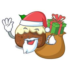 Santa with gift fruit cake mascot cartoon vector