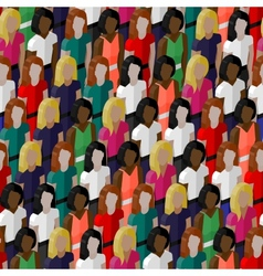 seamless pattern with a large group of girls and vector image