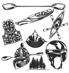Set kayaking elements vector