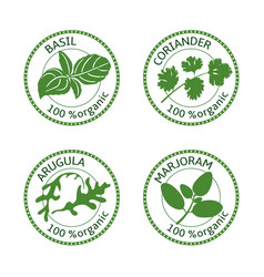 Set of herbs labels 100 organic vector
