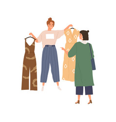Shop assistant offering choice trendy fashion vector