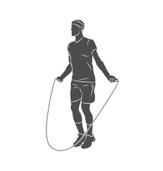 silhouette young athlete jumping rope on a white vector image