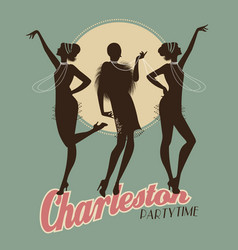 silhouettes of three flapper girls on a vector image