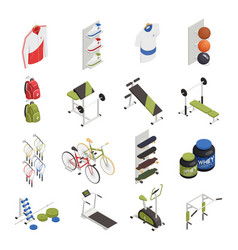 sport shop isometric icons vector image