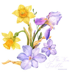 Spring watercolor bouquet with spring flowers vector