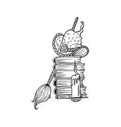 stack books and candle near witch hat and broom vector image