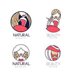 stylish logos for beauty salon or natural vector image