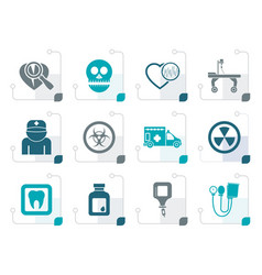 Stylized medicine and hospital equipment icons vector