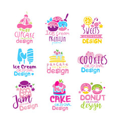 Sweets logo original design set kids menu badges vector