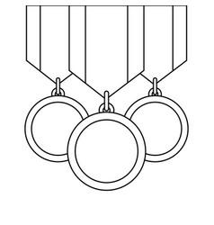 Three medals awards ribbon sport honor vector