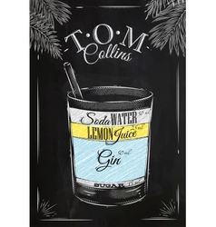 Tom Collins cocktail chalk vector