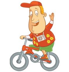 Tourist riding bike vector